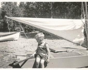 "Vintage Snapshot - ""Little Sailor"" - Sailboats - Tiller - Found Original Photograph - Black & White"
