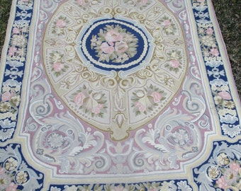 SALE Vintage Rug Pink Roses Hand Made Chain Stitch 50x72 Aubusson Design Cottage Chic