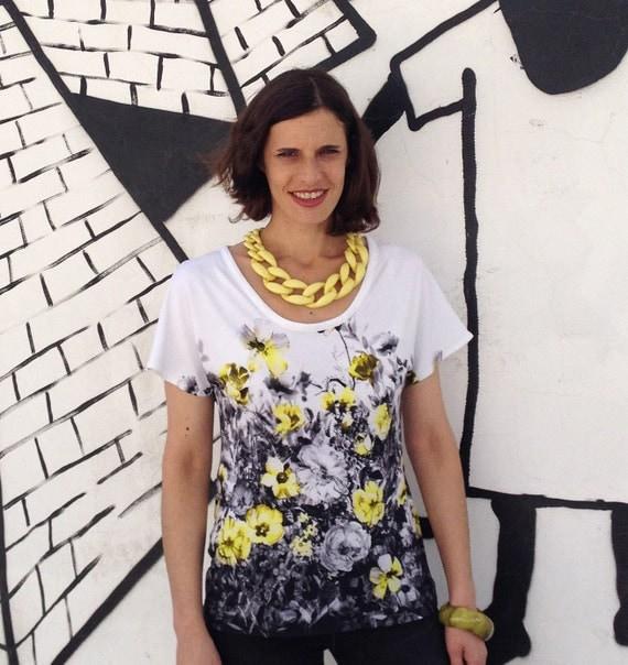Cotton Floral Shirt, Plus Size Shirt,  Summer Shirt, White Shirt, Floral Shirt, Plus Size Shirt, Yellow Flowers, Designers Shirt