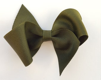 Olive green  hair bow--perfect preppy hair clip for infant baby toddler and big girls--3.5 inch hair accessories