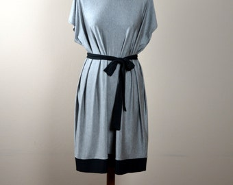 Grey jersey dress, Tunic dress, Color block dress, Tshirt dress, Womens dress, Womens clothing, Jersey tunic, Day dress, Boho dress