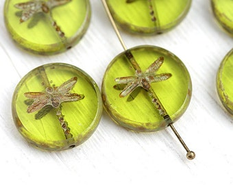 4pc Light Olive Green Dragonfly beads, picasso czech glass beads, table cut, round, tablet shape, olivine beads - 17mm - 2536