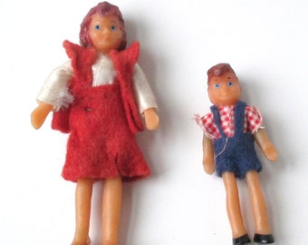 1960s Dollhouse People, toy bendie, rubber dollhouse figures, posable toy people