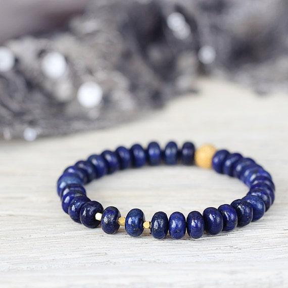 Lapis Lazuli Bracelet - Blue Gemstone Bracelet - Lapis Lazuli Jewellery - Blue Statement Bracelet