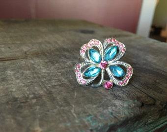Antique Turquoise & Pink Rhinestone Shamrock, 4- Leaf Clover/ Flower Brooch
