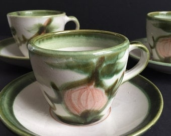 John B. Taylor Harvest Cups and Saucers:  Set of Three
