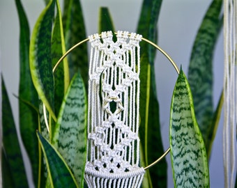 "Macrame Wall Hanging - 45"" Natural White Cotton Rope w/ 8"" Brass Ring - Boho Home, Nursery, Wedding Decor - MADE TO ORDER"