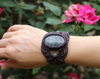"Black Moonstone ""Larvikite"" Handmade Micro Macrame Bracelet Cuff/ Labradorite/ Gem Stone/ OOAK"