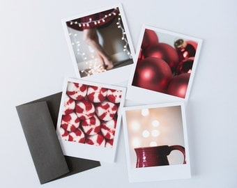 Simple Christmas Card, Red Christmas Card Box Set, Holiday Note Cards, Christmas Card Set, Holiday Card Set, Paper Goods