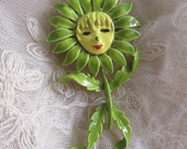 Vintage 1960's Anthropomorphic Face Daisy Flower Pin Enameled Flower Brooch Vintage Costume Jewelry Green Yellow Figural Flower Power Child