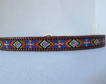 Belt Indian style Beaded leather, LL BEAN made in USA Silver buckle