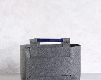 Storage Basket - Gray Felt storage bin with Navy Wood Handles -  Felt Bin -  SB-03