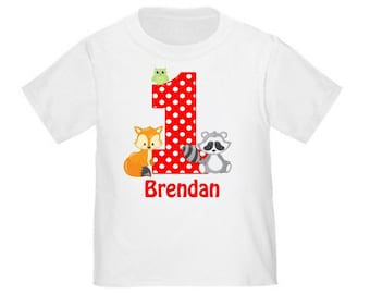 Fox Raccoon Owl Personalized Birthday Shirt - ANY Age