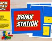 INSTANT Drink Station Sign and Labels in Blue - LEGO Inspired Teacher Appreciation and Birthday Printables