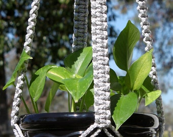 CLASSIC Handmade Macrame Plant Hanger Holder with Wood Beads - 6mm Braided Poly Cord in SILVER