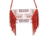 Cross Stitch Pattern Clutch & Cross Body Bag with Tassel Fringe (BG4395-84C10)