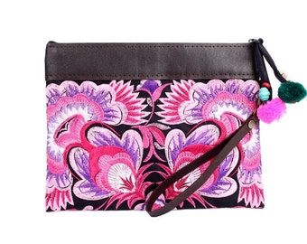 Pink Wristlet Embroidered Fabric With Removable Leather Strap Thailand (BG282AW-19C8)