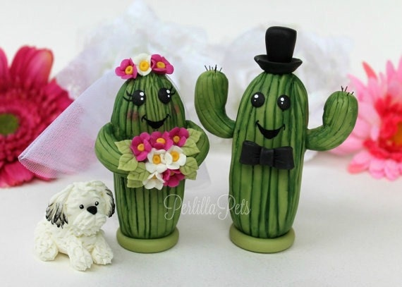 Saguaro Cactus Wedding Cake Topper Personalized By