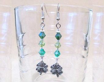 Shamrock Earrings, Shades of Green Swarovski Crystals w/ Detailed 2-Sided Silver Shamrock Charm, Handmade Original Fashion Jewelry Gift Idea