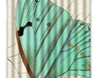 Green Butterfly Shower Curtain -  Butterfly - Shower Curtain - Vintage Butterfly Print - Butterfly Home Decor - Butterfly bath Home Decor