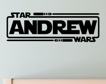 Personalized Star Wars Name With Lightsabers Jedi Knight Vinyl Wall Decal Decor Sticker Custom Name