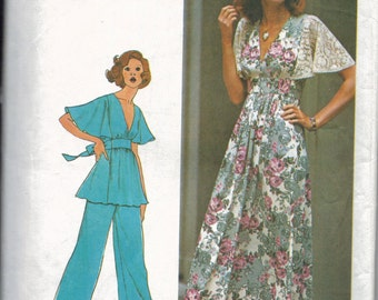 1970s Juniors Petite and Misses Dress or Top and Pants Pattern, Angel Sleeve Dress Pattern, Maxi Dress Pattern, Pantsuit Pattern, Size 7 9