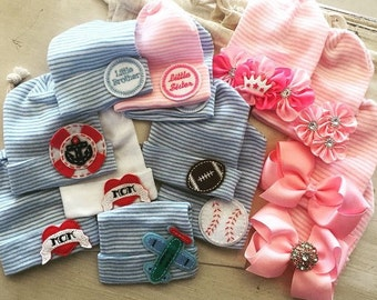 INFANTEENIE BEENIE Choose one baby girl or baby boy newborn hospital hat, newborn hat, coming home outfit accessory, best selling items