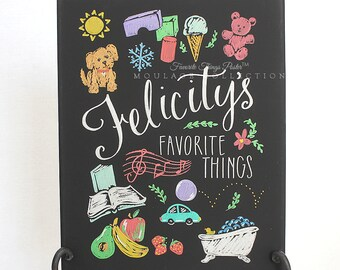 "Favorite Things Poster™ in pictures, custom ink drawing on 11""x14"" canvas, first birthday chalkboard style art"