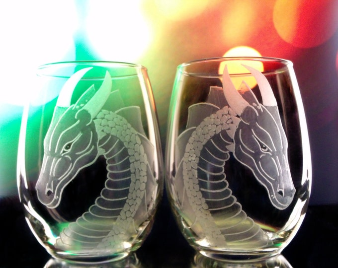 Dragon wine glass  clear stemless wine glasses  Set of two