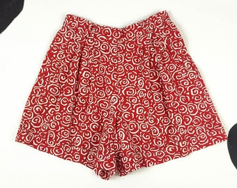 90s Red Swirly Allover Print Shorts / Pleated / Swirl / Clarissa / Pop Art / High Waist / Cotton / Abstract / 90210 / Size 10 /
