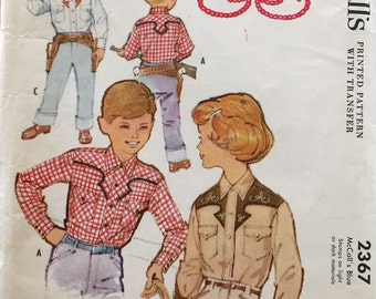 Vintage 1959 McCall's Boys' or Girls' Western Shirt Pattern 2367 Size 6 UNCUT