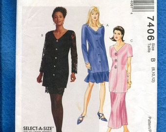 McCall's 7406 Mother of the Bride Princess Seam Jacket & Skirt Patttern Size 8..10..12 UNCUT