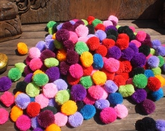 PomPoms, Set of 1000 Pompoms, Hmong decoration, Mixed Color Pompoms, Tribal Supply, Folk Art Supply, Jewelry Supply