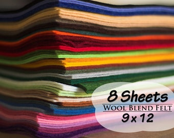 Wool Blend Felt Sheets, 9 x 12 inches, Choose 8 Colors, Wool Felt, Craft Felt, Needle Crafts, Sewing Supply, Scrapbooking, Felting