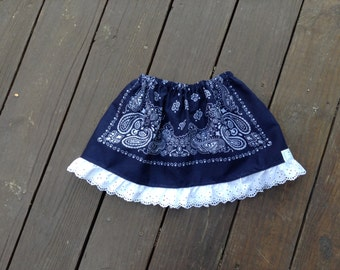 Navy Bandana Skirt with Eyelet Trim, One Size Fits 2T to 5T, Ready to ship, Western Skirt, Cowgirl Skirt, Bandana