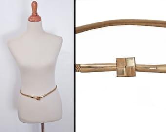Metallic GOLD Belt // 1970s Depose Skinny Geometric // Snake Texture Medium