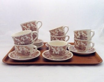 Vintage Transferware Cups and Saucers, Fair Winds Pattern, 9 Available