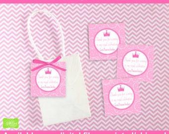 Princess Favor Tags - Princess Thank You Tags - Princess Favor Gift Tags - Pink Princess Favor Tags - Digital and Printed Available