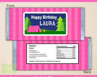 Camping Chocolate Bar Wrappers - Glam Camping Candy Bar Wrapper - Girl Camping Candy Bar Wrapper - Digital & Printed