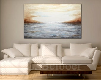 Large abstract landscape painting original 36 x 60 gray brown modern abstract art oil painting by L.Beiboer