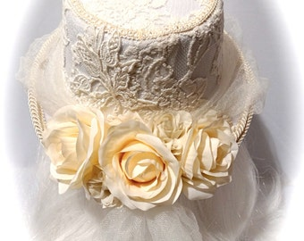 Bridal Top Hat Victorian Hats Ivory Wedding Hats BH-111