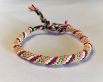 Neon Spiral Cylinder Friendship Bracelet