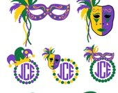 Mardi Gras Masquerade Mask Monogram Frame Set -svg, eps, ai, dfx Formats for heat transfer vinyl, vinyl, cutting file,