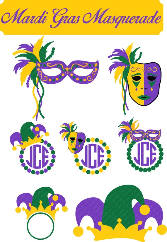 Mardi Gras Masquerade Mask Monogram Frame By