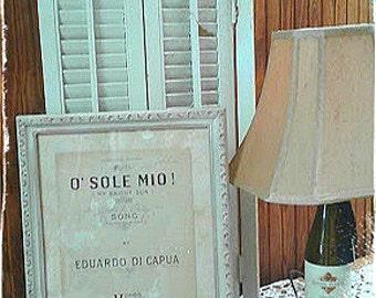"""Nostalgic,O Sole Mio, Framed Vintage 1940's -50's sheet music song, 18"""" x 15"""", White Ornate Frame"""