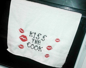 Embroidered Kitchen Towel, Kiss the Cook, Red Lips, Valentine Gift,FREE SHIPPING