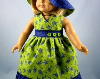 18 Inch Doll Clothing - Doll Clothes American Girl - Doll Sundress and Hat - Fits American Girl - Lime Green and Blue