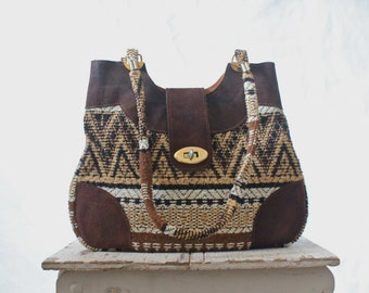Vintage c1970's Woven Fiber Leather Handbag