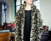 Vintage Snow Leopard Faux Fur Animal Print Winter Coat