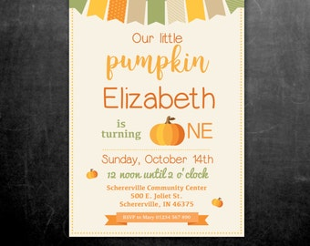Pumpkin Birthday Invitation, Our little pumpkin, Fall Harvest Autumn October, Childrens Birthday Party Invitation – Printable